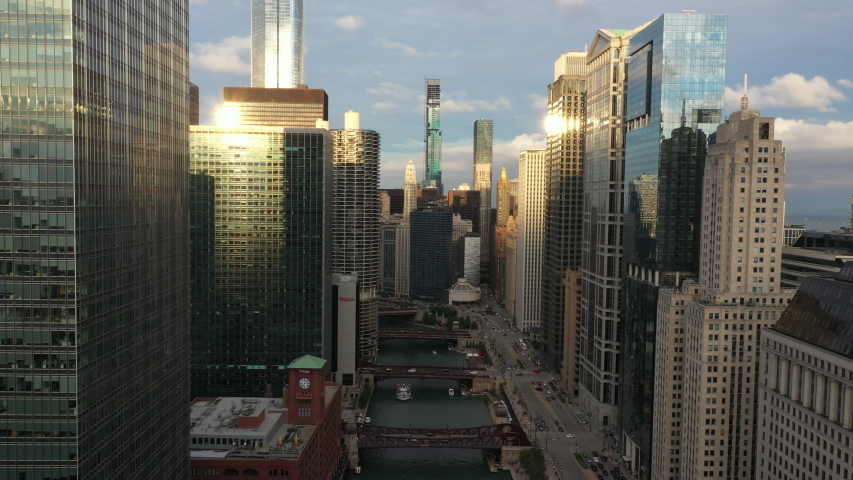 Chicago, IL / USA - August 10, 2019 - Aerial VIew of Chicago Riverwalk
