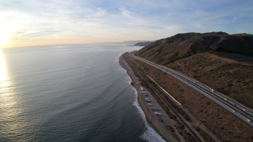 Ventura Freeway Highway 101 Pacific Coast California Aerial View High Above Roadway at Sunset