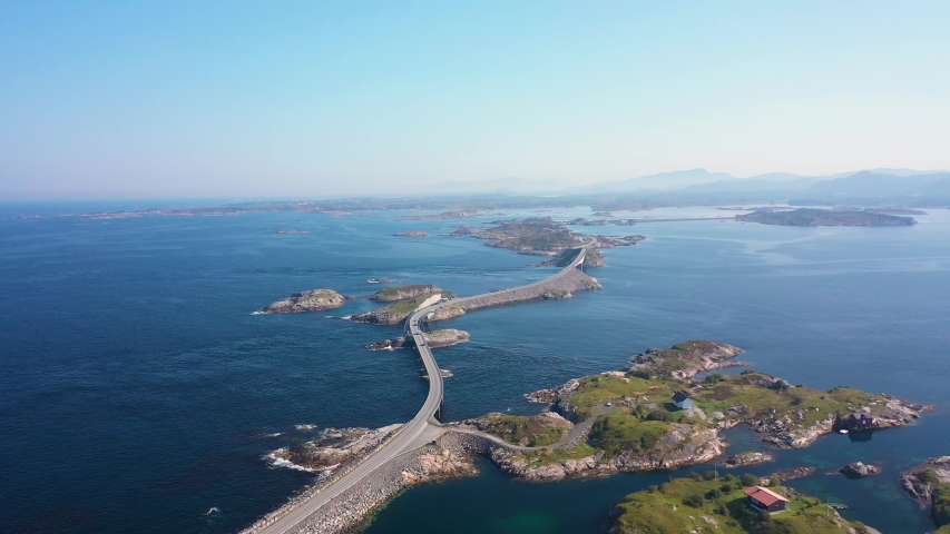 """Aerial view of camping cars on Atlantic Road (Atlanterhavsveien) also known as """"The Road in the Ocean"""" in Norway. National Tourist Route."""
