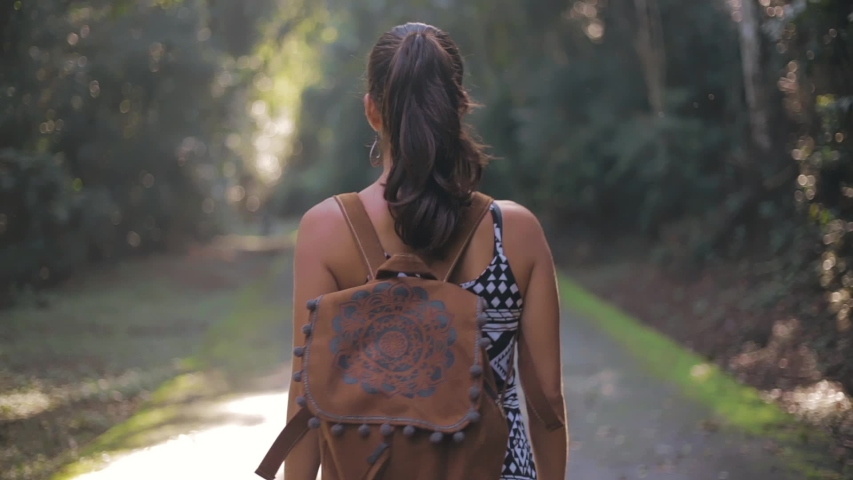 Hiking woman walk in rainforest jungle. Rear back view of girl hiker walking with backpack through rain forest nature on brazil, bokeh effect summer day sun effect. | Shutterstock HD Video #1036688423