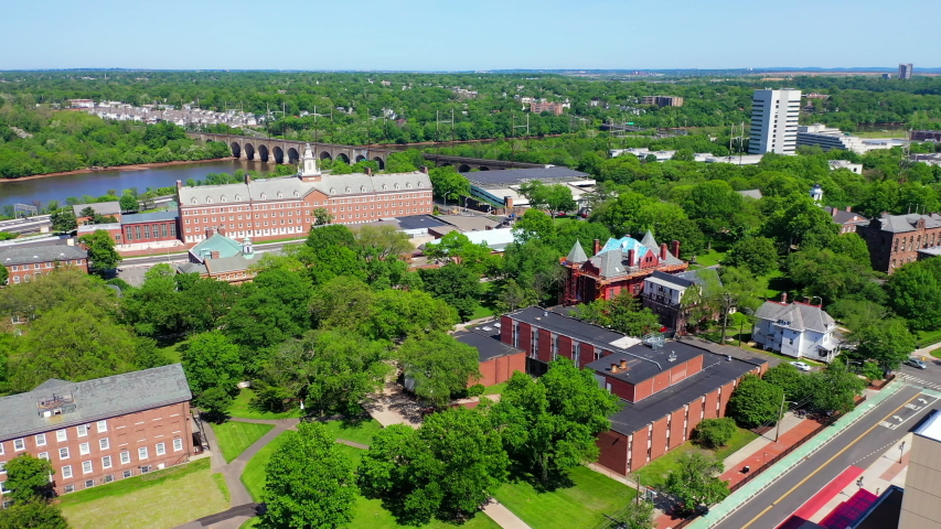 New Brunswick, NJ/United States - May 21, 2019: beautiful aerial shots of the Rutgers University campus in downtown New Brunswick, NJ.