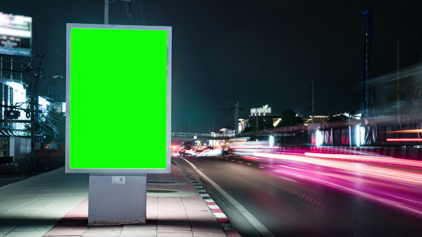 Timelapse advertising billboard on street at night with traffic | Shutterstock HD Video #1036713317
