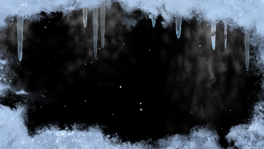An overlay scene with frozen ice around the camera frame. Icicles hang from the top with cold vapor emitting from them. Snow particles are flying around with the wind. 30 fps-Alpha Channel-1080p-Loop
