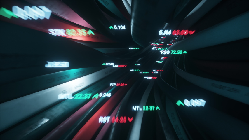 High frequency trading of stock prices and currency are sent through high speed data cables. Seamless 4k looped video
