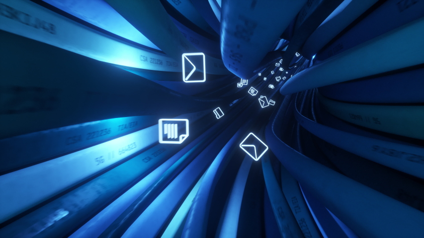 Files and folder are sent through high speed data cables. Seamless 4k looped video Royalty-Free Stock Footage #1036740068