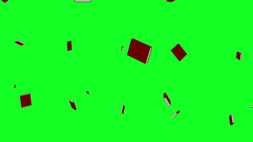 Red books falling on the green screen or chroma key. Concept of knowledge rain or back to school. Ideal for bookstores, publishers, libraries,college,study.Texts background abstract 3d animation in 4k Royalty-Free Stock Footage #1036741199