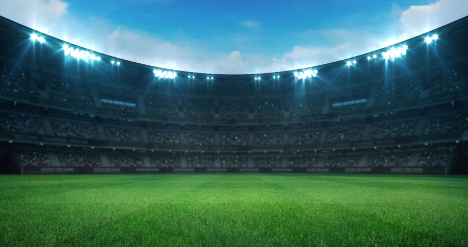 Empty green grass playground in a stadium full of fans at daylight, sport 4K professional background animation loop