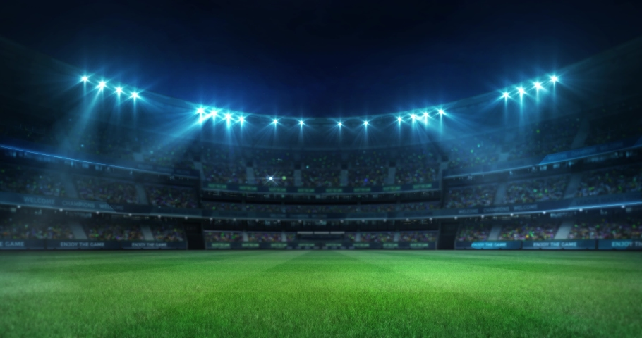 Lighting the empty grass playground before the game in the stadium full of fans, sport 4K professional background animation loop