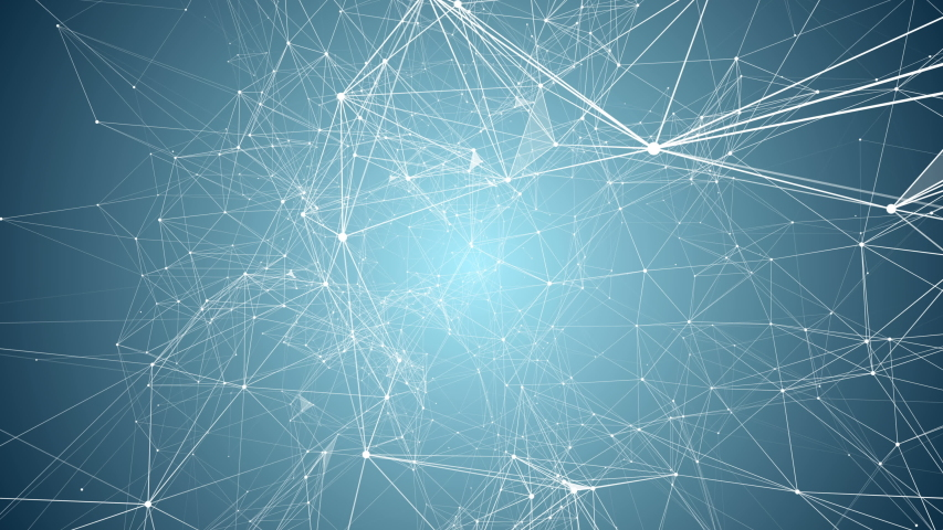 Neuron network. Abstract white lines on blue background. #1036748054