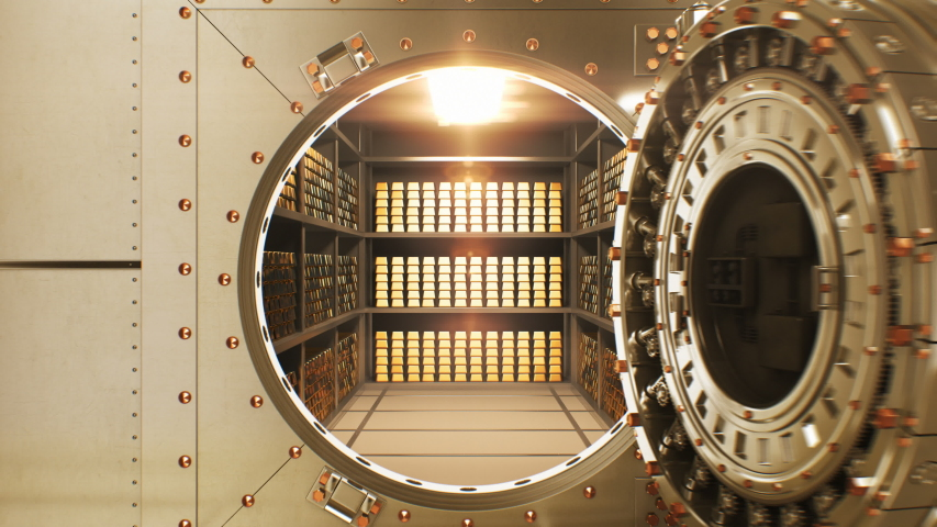 Beautiful Big Round Vault Door Opening to the Golden Bullions Reserve. Abstract 3d Animation of Bank Gold Storage Room. Banking and Financial Concept. 4k Ultra HD 3840x2160.