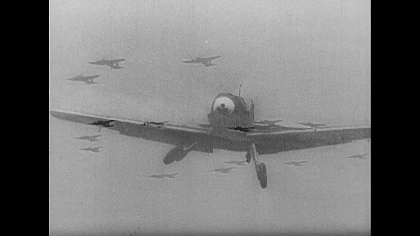 CIRCA 1940s - The British Royal Air Force dogfights Nazi warplanes over Britain, during World War 2, in 1940.