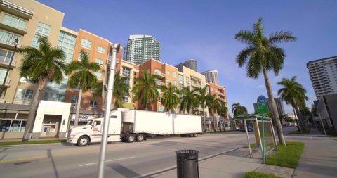 MIAMI, FL, USA - SEPTEMBER 7, 2019: Mixed use real estate business and residential Miami Biscayne 4k 60p motion video