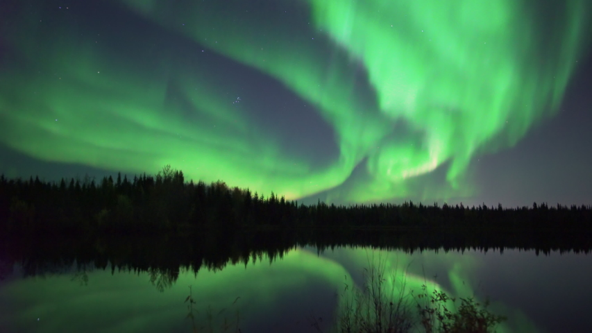Realistic real time (not timelapse) aurora borealis (northern lights) dancing over trees and lake in Alaska