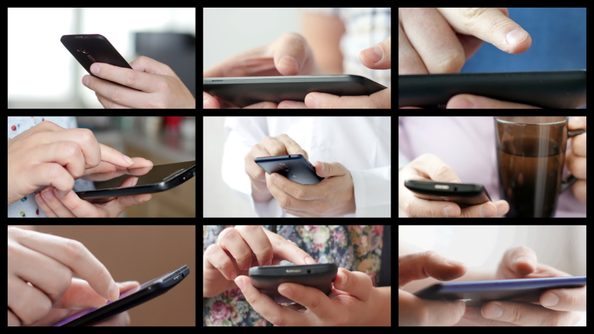 Collage of different people hands texting or typing on theirs smartphones. Split screen montage wall. Concept of using cell phone, smart phone, modern technology and communication | Shutterstock HD Video #1036813133