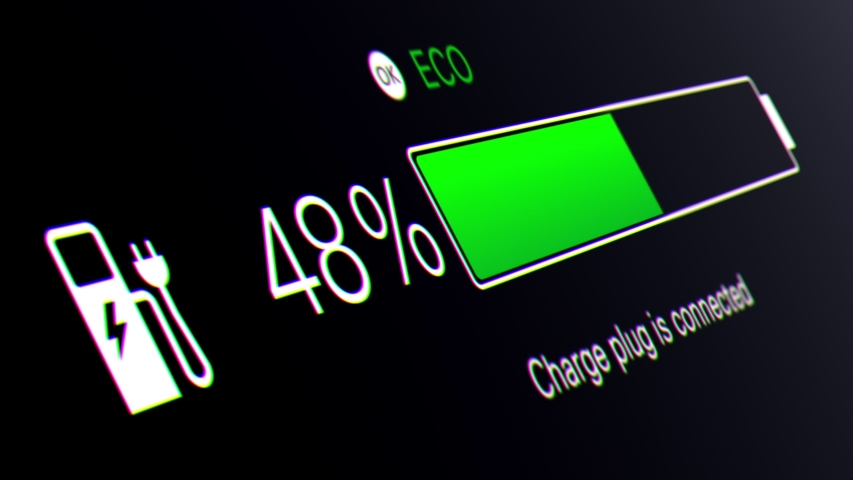 Electric Car Dashboard. Electric car battery indicator showing an increasing battery charge. The battery indicator shows it fills up to 100%. Electric Car Battery Gauge