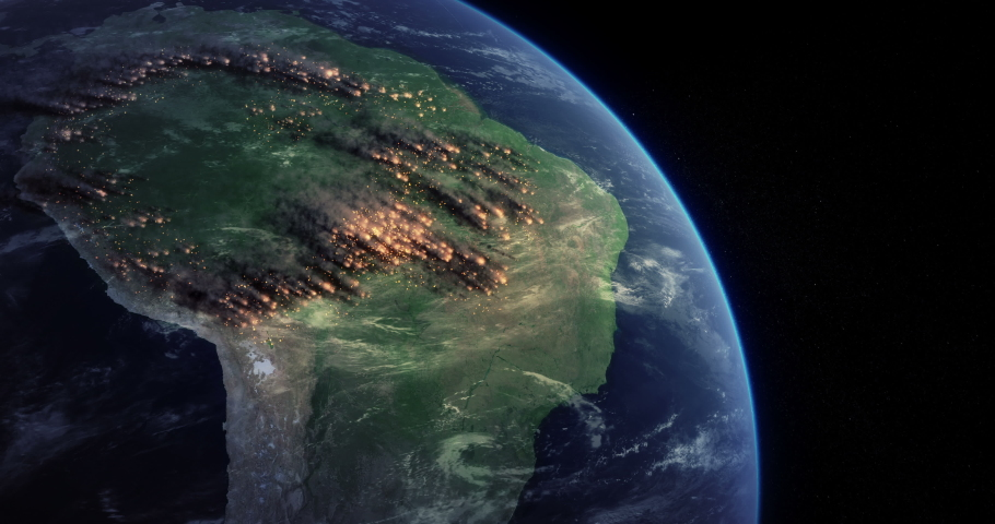 Amazon Rainforest Fire From Space. Satellite View Shows a Lot of Fires Burning in the Brazilian Amazon Forest. Massive Wildfire Rips Through Parts of the Amazon. Royalty-Free Stock Footage #1036814996
