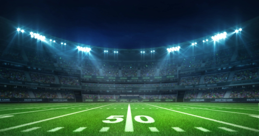 American football stadium with grassy playground and fans under shining spotlights, sport 4K professional background animation loop