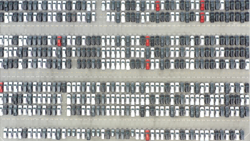 Top view of row new cars in logistic port export terminal  | Shutterstock HD Video #1036858280