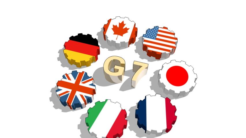 International union members flags on gears. Giant seven   Shutterstock HD Video #1036904735