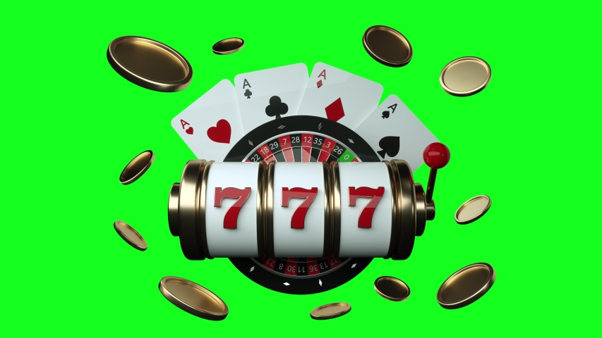 Gambling Concept, Slot Machine, Roulette Wheel And Four Aces With Golden Coins - 3D Illustration - Green Screen | Shutterstock HD Video #1036909820