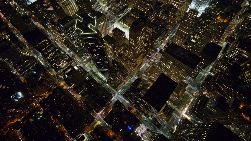 NYC New York Aerial v107 Vertical, oriented at an angle, Midtown Manhattan cityscape view heading toward East River near E 40th St - October 2017 | Shutterstock HD Video #1036926458