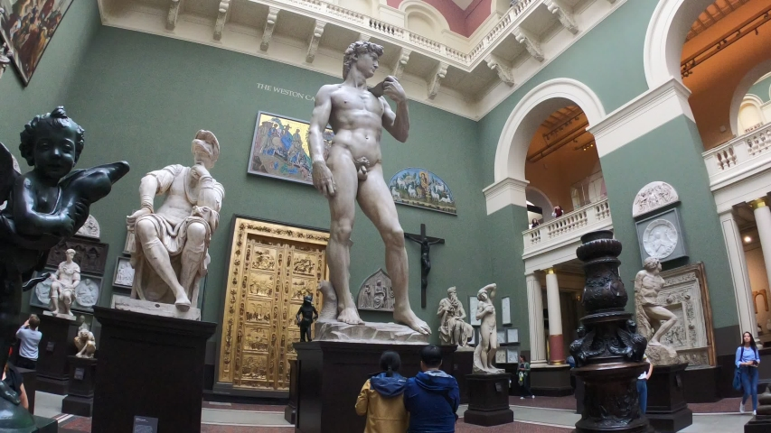 London, Greater London / England - 09/07/2019: David's Michelangelo replica in the Victoria and Albert Museum, housing a permanent collection of over 2.27 million objects. It was founded in 1852.
