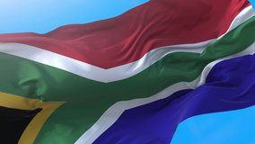 South Africa flag video waving in wind 4K. Realistic south african background. Afican background looping 3840x2160 px.