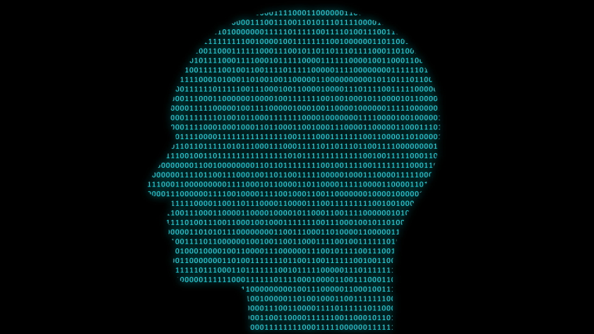 Animation of human head symbol at binary code background. Abstract global security and technology concept. Seamless loop abstract background.   Shutterstock HD Video #1036975352