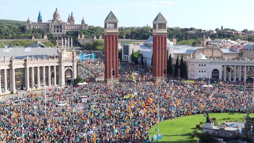 Barcelona, Catalonia / Spain - September 11, 2019: Aerial view of the catalan independentist rally at Plaça Espanya. La Diada, Catalonia's National Day.