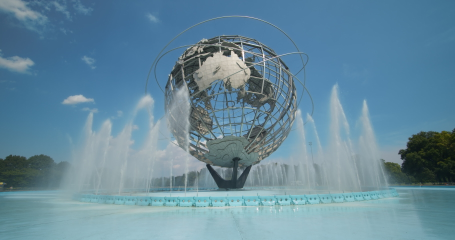 Queens, New York / United States - July 26 2019: The Unisphere from the 1964 Worlds fair in Flushing Meadow park.