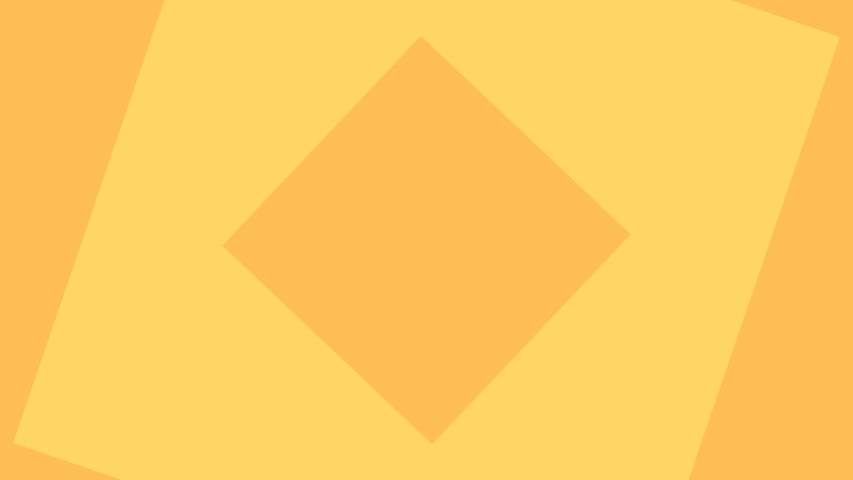 Abstract background in flat style animation of Square shape layers rotating with orange and yellow color.