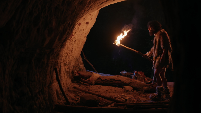 Primeval Caveman Wearing Animal Skin Exploring Cave At Night, Holding Torch with Fire Looking at Drawings on the Walls at Night. Cave Art with Petroglyphs, Rock Paintings. Side View Royalty-Free Stock Footage #1037019377