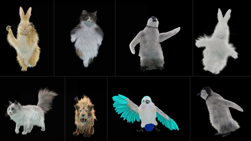 Rabbit cat penguin penguins lion bird Zoo CG fur 3d rendering animal realistic CGI VFX Animation Loop Crowd dance composition 3d mapping cartoon, Included in the end of the clip with Alpha matte.