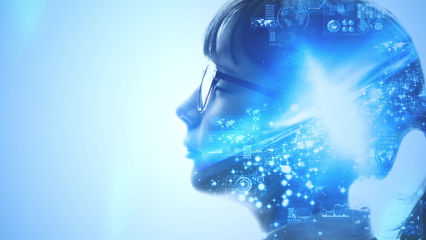 AI (Artificial Intelligence) concept. Deep learning. Mindfulness. | Shutterstock HD Video #1037098463