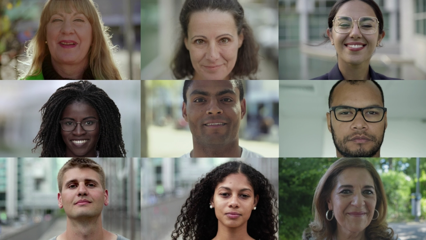 Collage of happy citizens smiling in urban background. Portraits of multiethnic men and women looking at camera. Ethnicity variation concept #1037106866