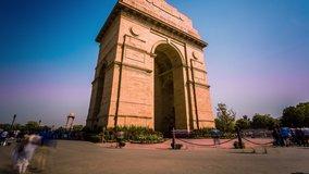India Gate in New Delhi time lapse tilt
