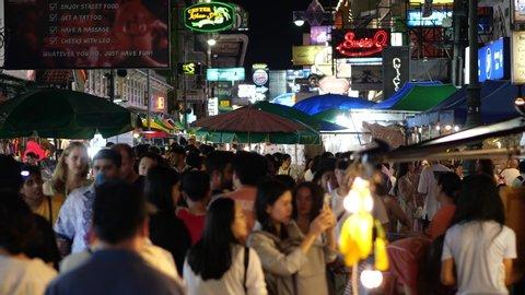 Bangkok, Thailand - September 13 2019: Khaosan Road (Khao San Road) at night, Famous landmark in Bangkok, Thailand and Famous destination on Songkran Festival