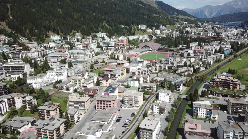 Aerial view of Davos city and lake. Davos is swiss city,