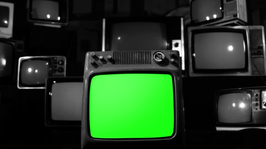 "Retro TV Green Screen Explodes, Broken Screen. Black and White Tone. Zoom In. You can Replace Green Screen with the Footage or Picture you Want with ""Keying"" effect in AE (check out tutorials). 