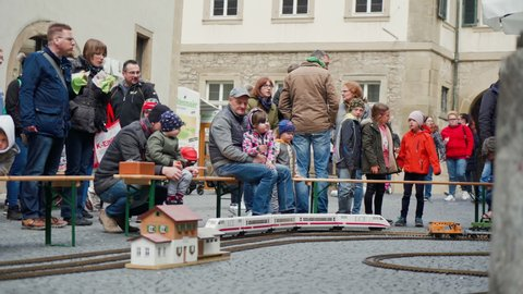 SCHWABISCH HALL, GERMANY - MAY 5, 2019: Model of the railway on the streets of the city during the festival Haller Fruhling