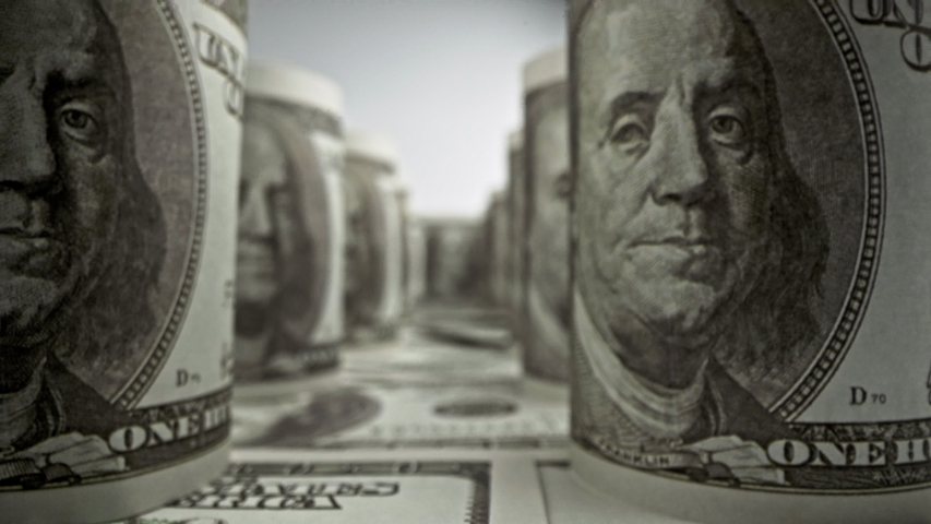 American one hundred dollar paper banknote in close up macro view dolly shot. Concept of finance and economy. | Shutterstock HD Video #1037164100