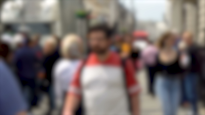 Anonymous Blurry Crowd of Caucasian Pedestrians in Summerly Clothes Walking on Sidewalk in London | Shutterstock HD Video #1037166572