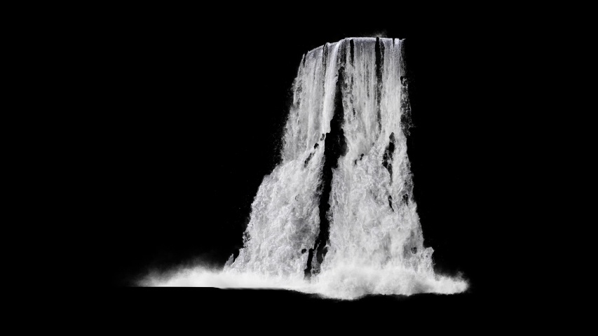 waterfall texture seamless loop, 4k, isolated on black with alpha, foam and mist, looped #1037166935