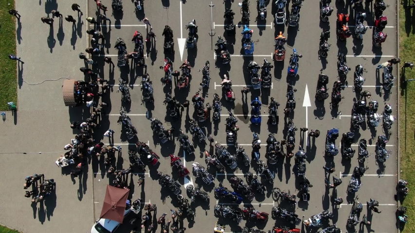 largest number of bikers in Europe. Over 10,000 motorcycles. Drone shot #1037179883