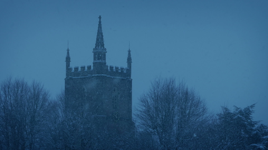 Snow Falls On Church Building In The Evening   Shutterstock HD Video #1037200205