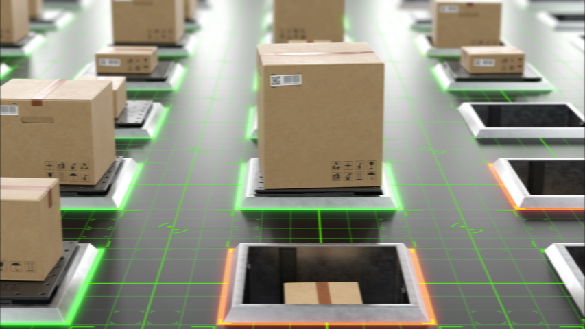 Modern Automated Hi-tech Warehouse with Parcels Rising on Lifts and Digital Floor Lights Seamless. Beautiful Looped 3d Animation of Cardboard Boxes. Storage and Delivery Concept. 4k UHD 3840x2160.