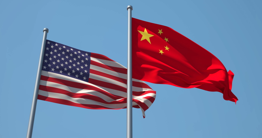 China and USA flag on flagpole. 4K 60fps. China and The United States of America waving flag in wind. China and US Trade War.
