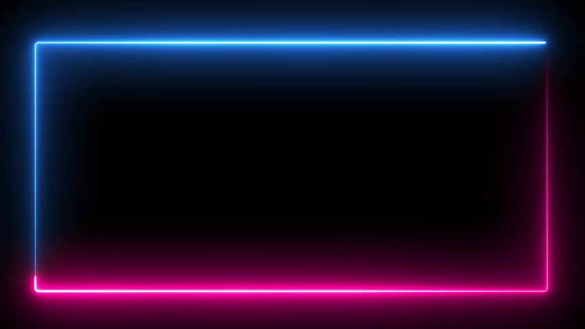 Computer generated color animation. 3D rendering neon frame of blue and pink colors on a black background #1037222753
