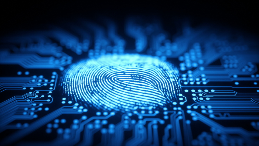 Fingerprint, printed circuit, releasing binary codes, microchip concept and data processing and digital identification. | Shutterstock HD Video #1037223824