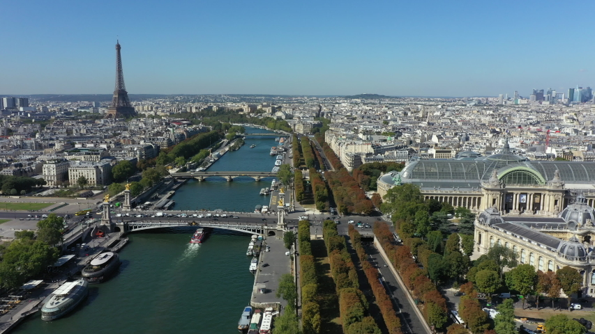 Aerial cityscape of Paris France with Seine River and Eiffel Tower | Shutterstock HD Video #1037225486